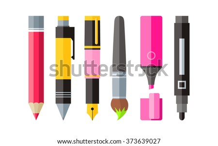 pencil and pen, vector illustration isolated on modern background. Stock photo © kyryloff