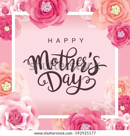 Happy Mothers Day Greeting card illustration with Mom typographic design and hearth symbol on white  Stock photo © articular