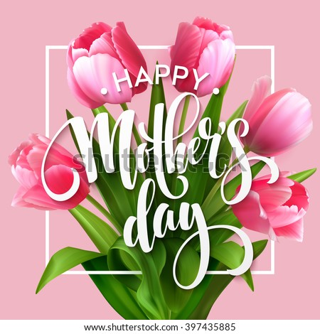 happy mothers day greeting card with tulip flower green grass and cloud on spring landscape backgro stock photo © articular