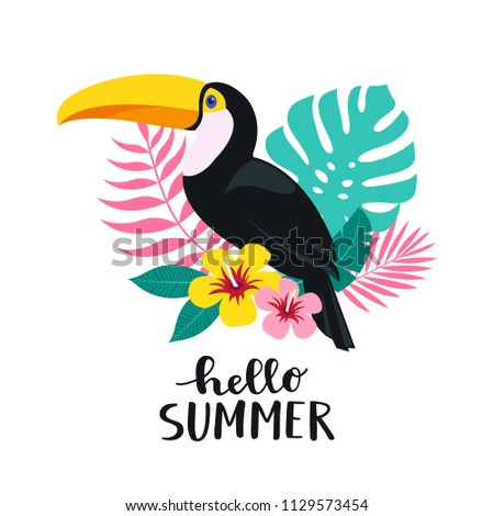 Stock photo: Hello Summer illustration with toucan bird on tropical background. Exotic leaves and flower with hol