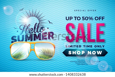 summer sale design with flower beach holiday elements and exotic leaves on blue background tropica stock photo © articular