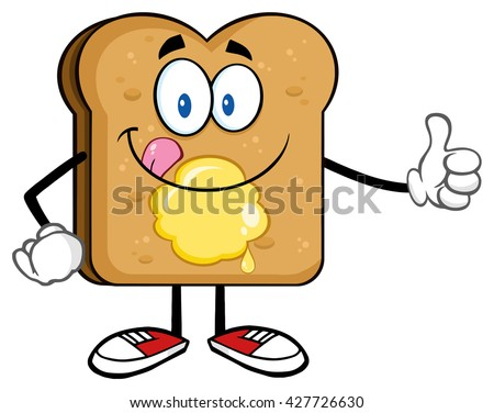 Toast Bread Slice Cartoon Character Licking His Lips With Peanut Butter Stock photo © hittoon