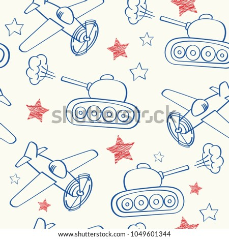 Military Hand drawing in notebook paper seamless pattern. Army b Stock photo © popaukropa
