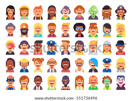 Male and female faces avatars icons  flat cool modern style vect Stock photo © NikoDzhi
