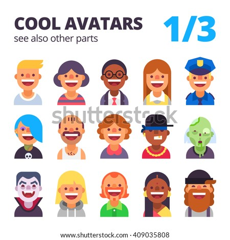 set of cool avatars flat icons different clothestones and hair stock photo © nikodzhi