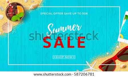 verano · tiempo · banner · plantilla · de · diseño · temporada · elementos - foto stock © natali_brill