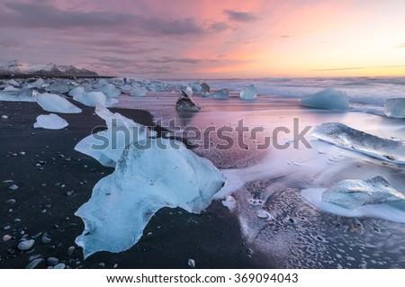 jéghegy · tengerpart · Izland · napfelkelte · jég · kék - stock fotó © kotenko