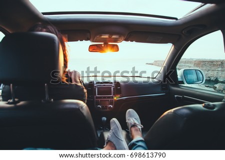 Spending weekend in roadtrip car vacation concept. Woman shoes o Stock photo © snowing
