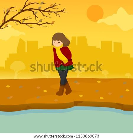 Sad Lonely Girl Autumn Season Scene Illustration Graphic Design Stock photo © svvell