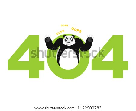 Error 404. panda surprise. Page not found template for web site. Stock photo © popaukropa
