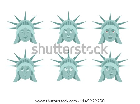 Statue of Liberty Surprised Emoji. US landmark statue face guilt Stock photo © popaukropa