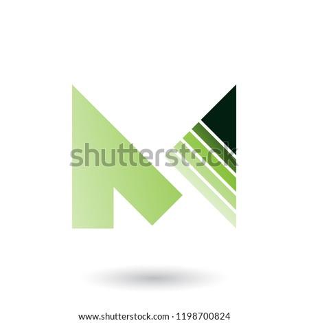 Verde letra m listrado triângulo vetor isolado Foto stock © cidepix