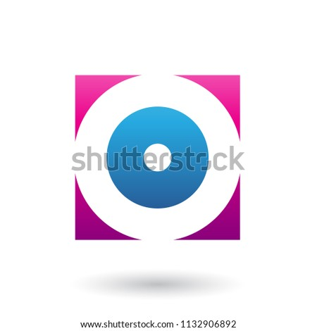 Magenta and Blue Square Icon of a Thick Letter O Vector Illustra Stock photo © cidepix