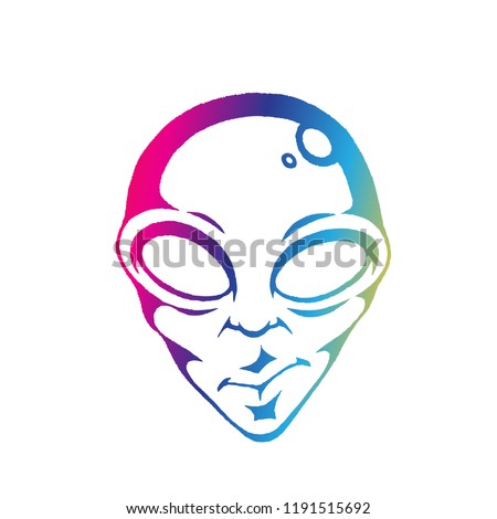 rainbow colored vectorized ink sketch of alien face illustration stock photo © cidepix