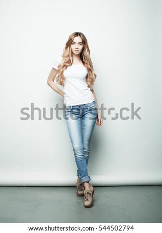 Teljes alakos portré vonzó tinilány göndör haj nyár Stock fotó © deandrobot