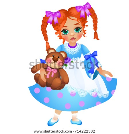 Little redhead girl with two braided pigtails holds toy teddy bear isolated on white background. Vec Stock photo © Lady-Luck
