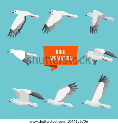 Cute animated bird isolated on white background. Vector cartoon close-up illustration. Stock photo © Lady-Luck
