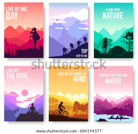 climber climbs the mountain brochure cards set. Extreme lifestyle of rock climbers template of flyea Stock photo © Linetale