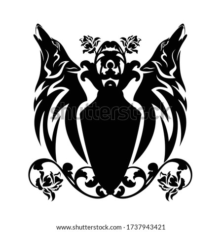 Wolf Shield heraldic symbol. Sign werewolf for coat of arms. Roy Stock photo © MaryValery