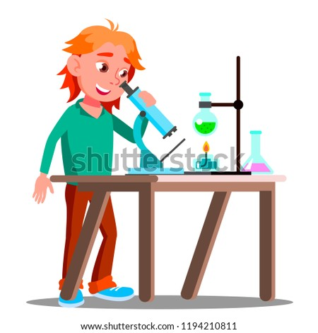 curious child using a microscope in school vector school education isolated illustration stock photo © pikepicture
