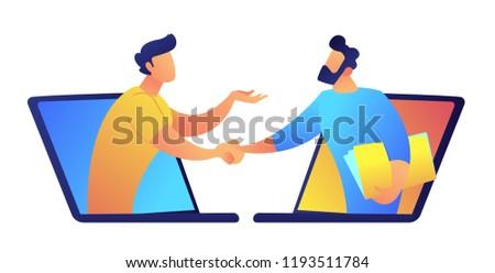 online · video · conferentie · vector · man · chat - stockfoto © rastudio