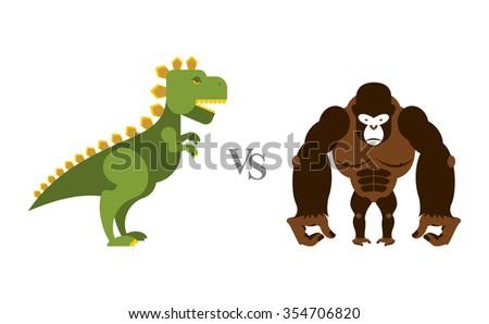 Godzilla vs King Kong. Battle monsters. Big wild monkey and scar Stock photo © popaukropa