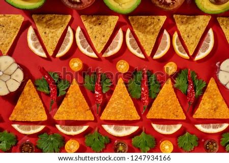 Stock fotó: Kreatív · mértani · étel · minta · mexikói · nachos