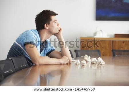 устал скучно недовольный человека сидят служба Сток-фото © deandrobot