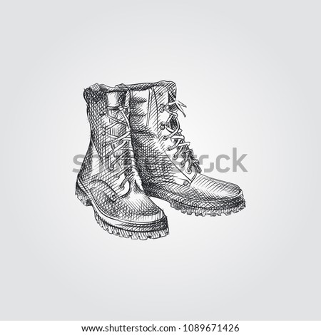 Vintage hiking shoes, camping boots. Sketch line art design. Silhouette style icon. Stock vector iso Stock photo © JeksonGraphics