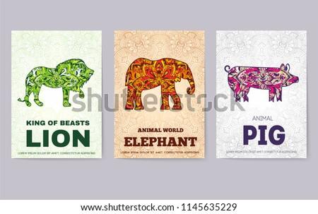 sanat · vahşi · hayvanlar · broşür · kartları · orman · şablon - stok fotoğraf © Linetale