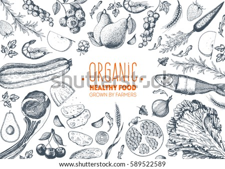 Menu of vegetables. Vegetarian food vector illustration. Concept Stock photo © popaukropa