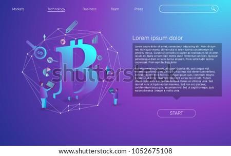 Izometrikus vektor leszállás oldal sablon pénzügyi Stock fotó © TarikVision