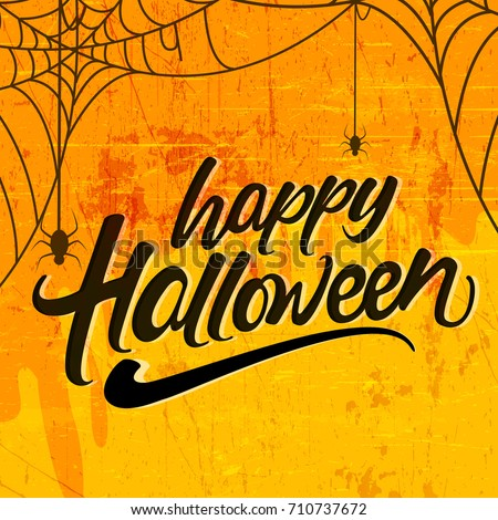 Boo, Happy Halloween design with typography lettering on orange background. Vector Holiday design te Stock photo © articular