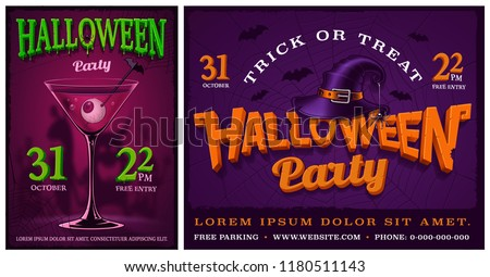 Halloween Party flyer vector illustration with typography lettering on dark background. Holiday desi Stock photo © articular