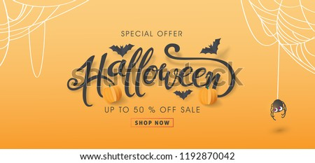 halloween sale banner illustration with pumpkin spider cemetery and flying bats on abstract colorf stock photo © articular