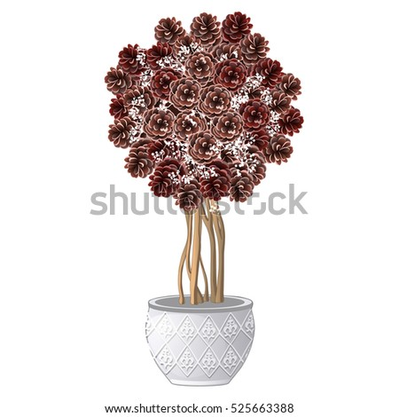 Christmas topiary made of pine cones and twigs isolated on white background. Sample of Christmas and stock photo © Lady-Luck