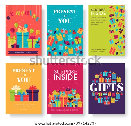 Gift information cards set. Surprise template of flyear, magazines, posters, book cover, banners. Bo stock photo © Linetale