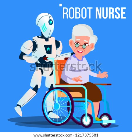 Robot Nurse Rolling Wheelchair With Elderly Woman Vector. Isolated Illustration Stock photo © pikepicture