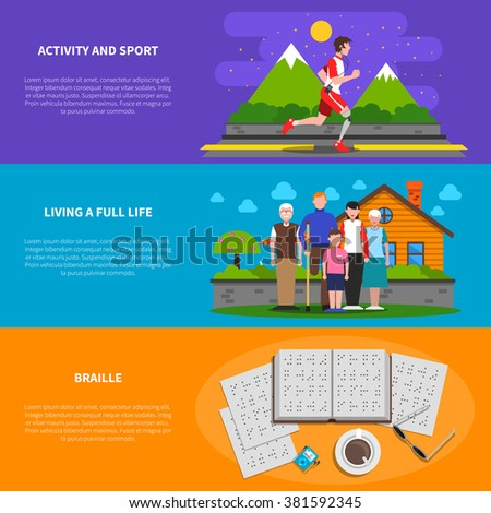 set of social business life horizontal banners flat design. Vector illustrations backgrounds in vint Stock photo © Linetale