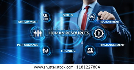 Human resources management concept, searching professional staff, analyzing resume papers, work. Fla Stock photo © makyzz