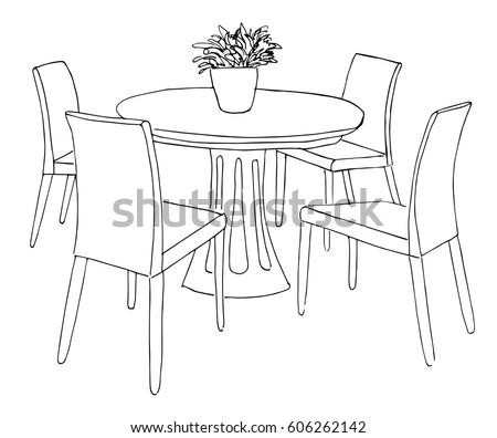 eetkamer · tabel · stoelen · vaas · bloemen - stockfoto © Arkadivna