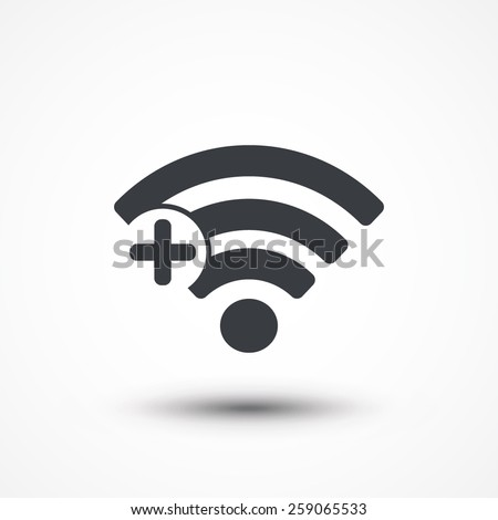 Wifi connection signal icon with add or plus in the circle. vector illustration isolated on modern b Stock photo © kyryloff
