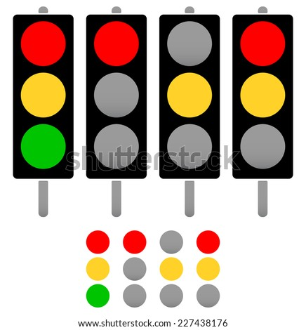 Black and white traffic light icon set or light indicators. traf Stock photo © kyryloff