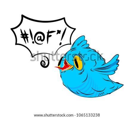 Blauw vogel woorden tekstballon vogeltje taal Stockfoto © MaryValery