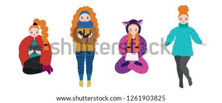 Stockfoto: Meisje · warm · kleding · najaar · winter · weekend