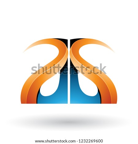 Blue and Orange Glossy Curvy Embossed Letter G Vector Illustrati Stock photo © cidepix
