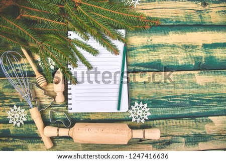 Christmas menu plan or recipe  on green rustic wooden background Stock photo © Illia