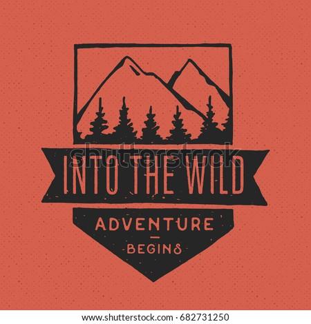 Vintage hand drawn adventure themed retro badge. Logo is perfect for T-Shirts, mugs, prints, brandin Stock photo © JeksonGraphics