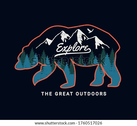 Camping emblem art. Wilderness poster with bear, mountains, trees. Save animals - eat people quote.  Stock photo © JeksonGraphics
