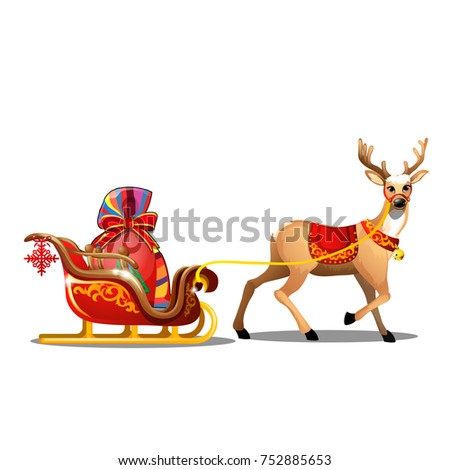 christmas sketch with animated deer with red blanket and sleigh with bag of santa claus with gifts stock photo © lady-luck